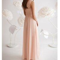 Bodenlanges Abendkleid mit Oberteil aus Spitze / Bestickt R1262