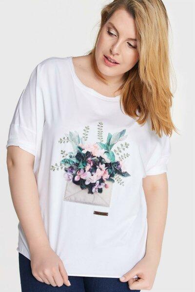 Damen T-Shirt mit etwas längeren Ärmeln & Blumen-Applikation 2 Plus Size