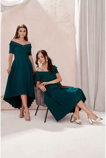 Damen schulterfreies Abendkleid mit Ärmeln, asymmetrisch 0343