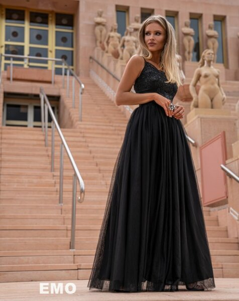 Elegantes Abendkleid Moli mit Tüllrock und dünnen Trägern