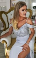 Elegantes Abendkleid Amanda mit Schlitz und falenden...